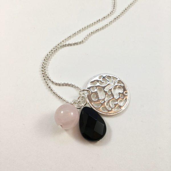 Lange ketting zilver munt rozenkwarts onyx