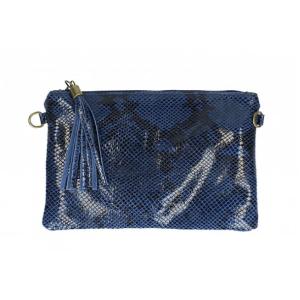 Leren uitgaanstas slangenprint jeans blauw