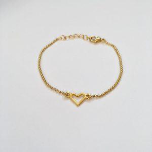 Metalen armband hartje goud