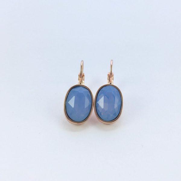 Oorbellen met Swarovski blauw, rose goud