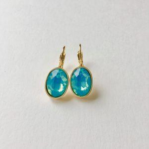 Oorbellen met Swarovski glimmend blauw, goud ovaal