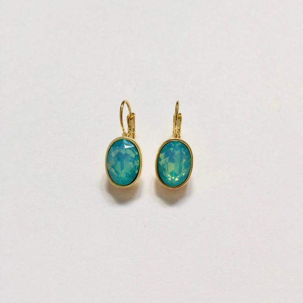 Oorbellen met Swarovski (glimmend blauw, goud)