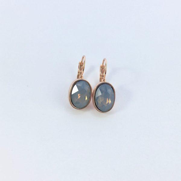 Oorbellen met Swarovski grijs:blauw, rose goud