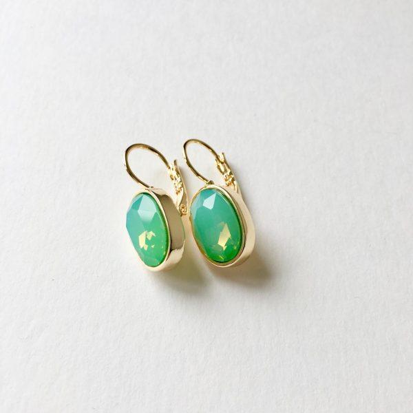 Oorbellen met Swarovski (groen, goud)