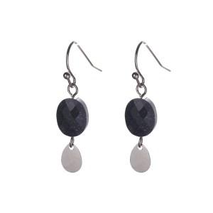 Oorbellen met ovalen bedels zilver zwart met glitters