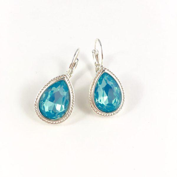 Oorhangers met Swarovski blauw zilver