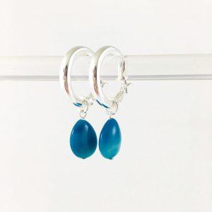 Oorringen met blauwe jade zilver