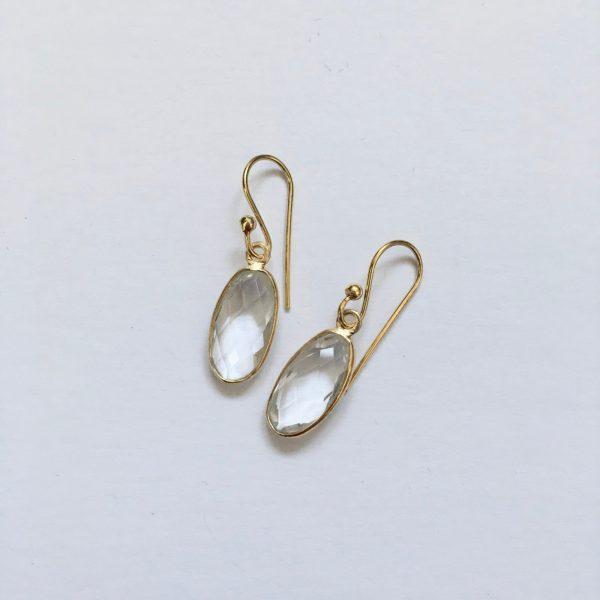 Ovalen edelsteen oorhangers mountain crystal 925 zilver verguld