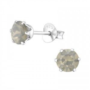 Zilveren Swarovski oorknoppen grijs