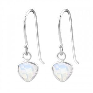 Zilveren driehoek oorbellen met white opal