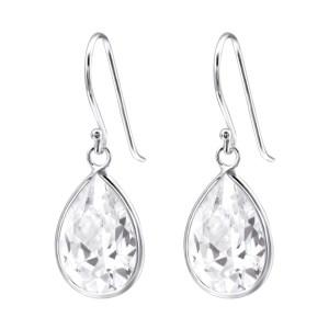 Zilveren druppel oorbellen met zirkonia zilver