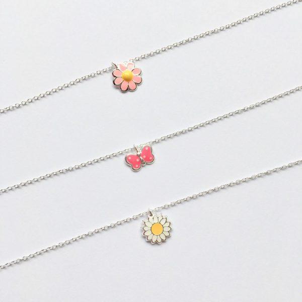 Zilveren kinderketting margriet vlinder roze bloem 925 zilver