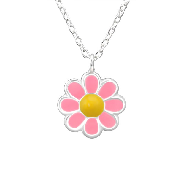 Zilveren kinderketting roze bloem