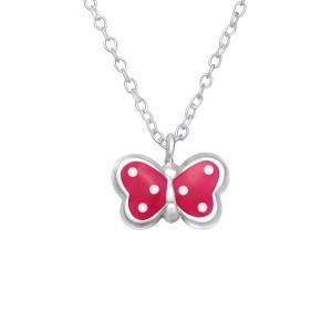 Zilveren kinderketting vlinder