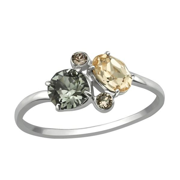 Zilveren ring met Swarovski beige groen grijs