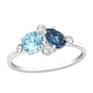 Zilveren ring met Swarovski blauw