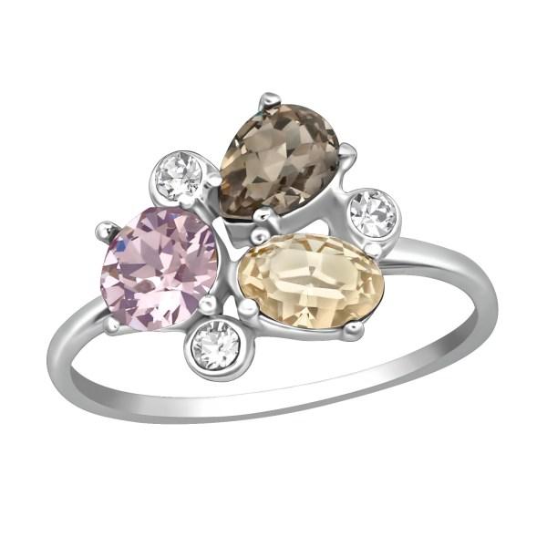 Zilveren ring met Swarovski grijs roze geel
