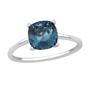 Zilveren ring met Swarovski kristal donker blauw maat 7 (M,17)