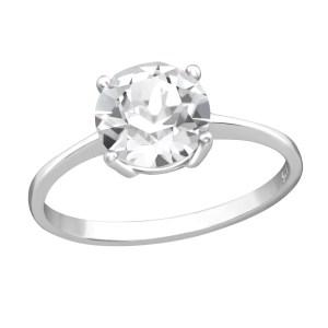 Zilveren ring met Swarovski kristal doorzichtig