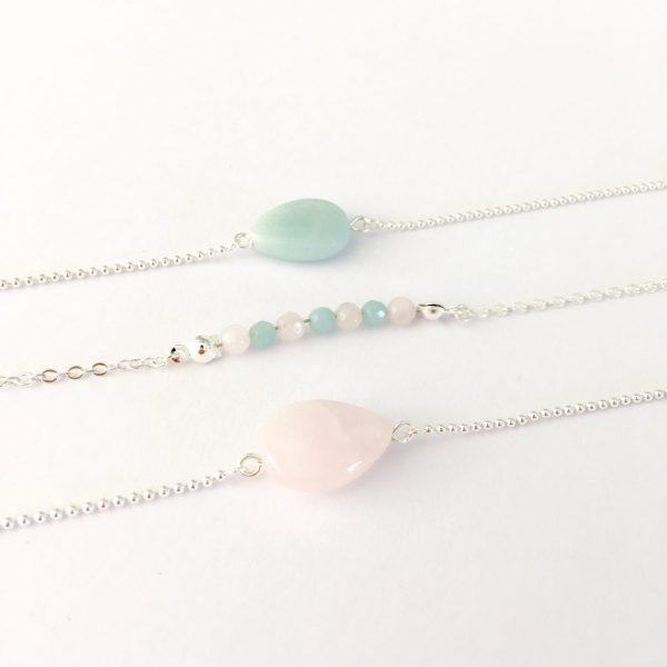 armband met edelstenen jade en rozenkwarts