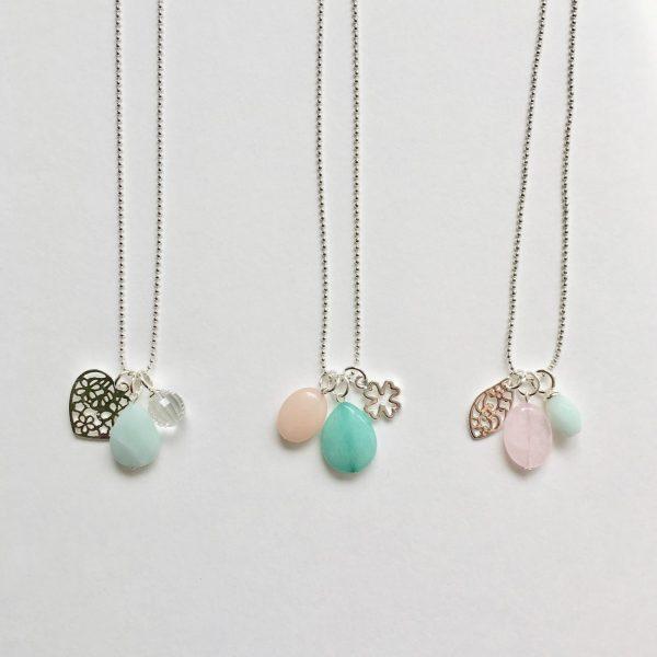 edelsteen ketting lange kettingen amazoniet rozenkwarts natuursteen 90 cm zilver