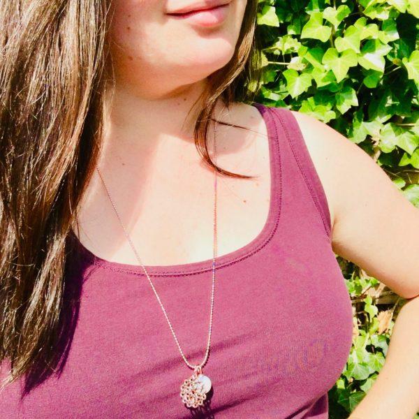 lange ketting met natuurteen 70-80 cm rose goud