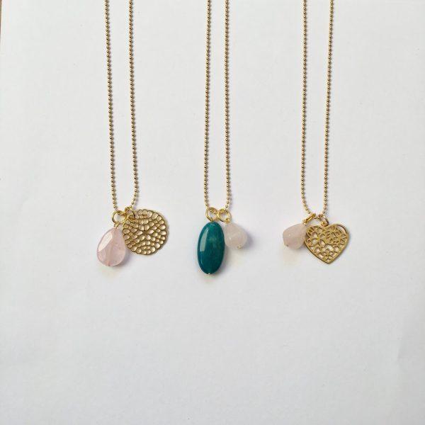 lange kettingen met edelstenen natuurstenen rozenkwarts agaat goudkleurig