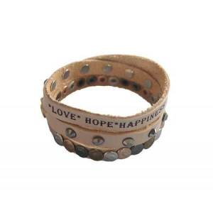 leren armband love hope happiness