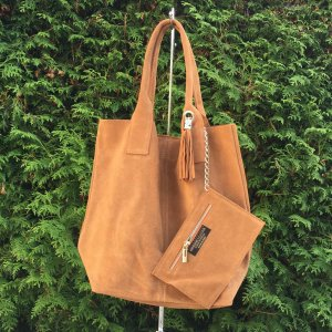 suede shopper cognac