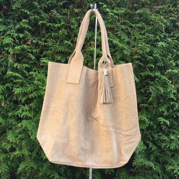 suede shopper taupe