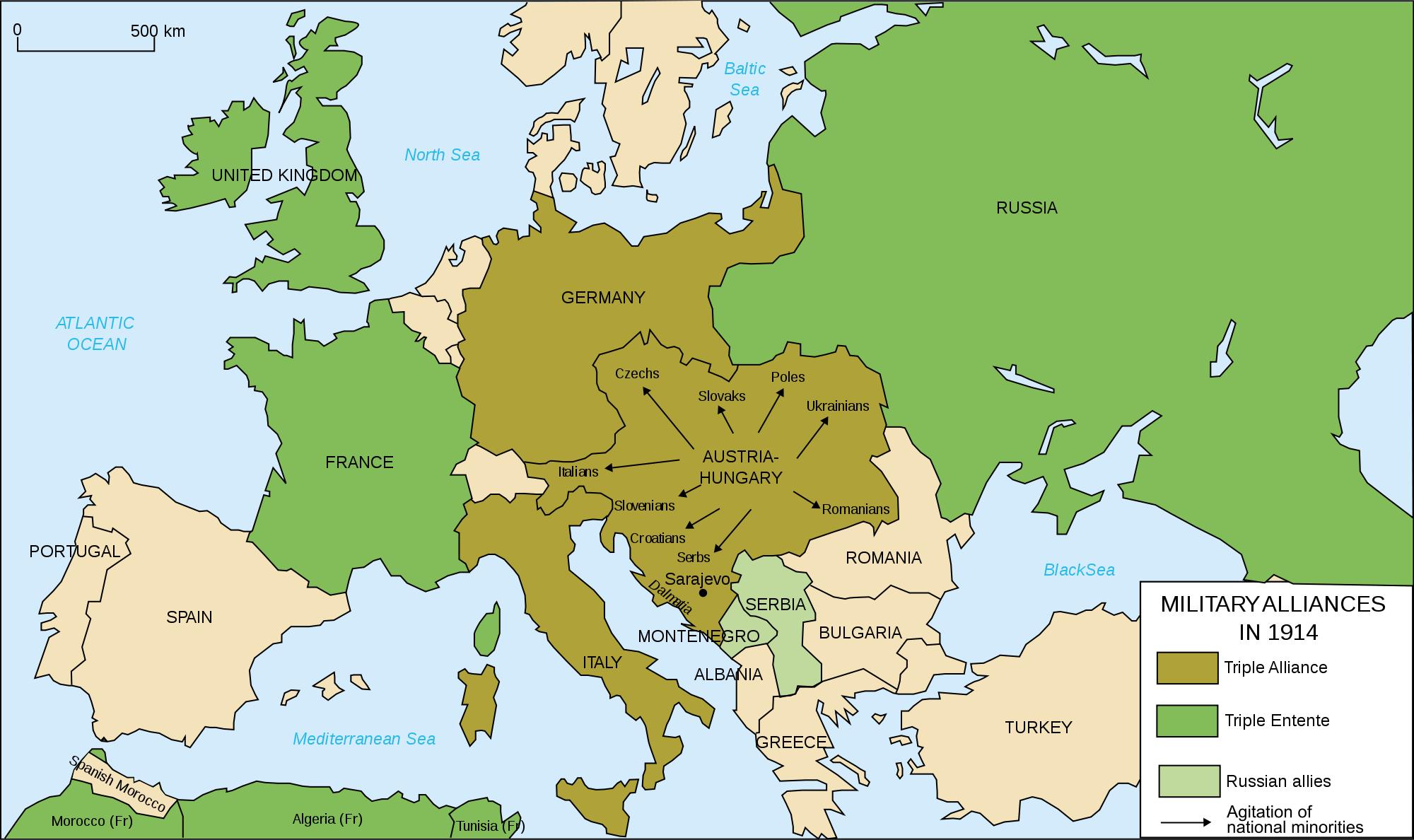 World War 1 Europe Map