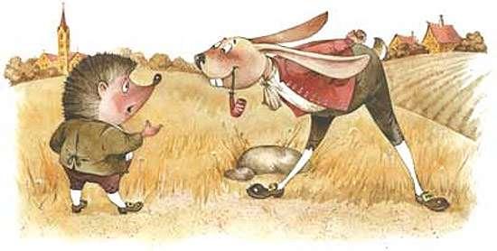 Еж и заяц, рисунок картинка