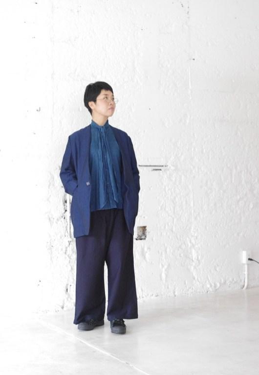BLUE BLUE JAPAN 700070522 J5939 バックサテン フルワイドパンツ ウィメンズ [INDIGO]