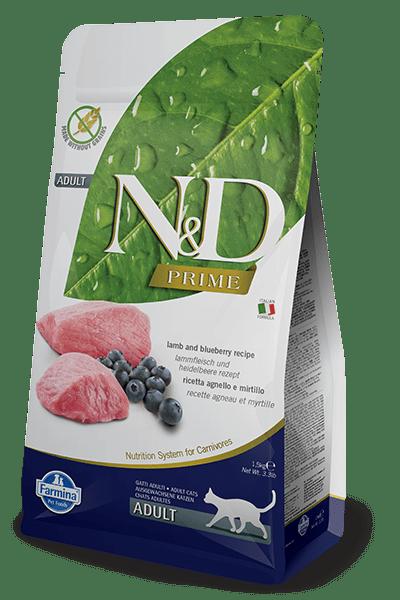Farmina - N&D Cat Prime Grain Free Agnello & Mirtillo. Adult 5kg