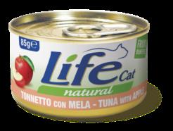 Life Cat - Umido Tonno Mela in brodo di cottura. 85gr