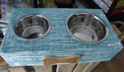 Zoologos - DogBar Kit 2 Ciotole Base in legno fatta a mano. 50 x 27 x 12 cm