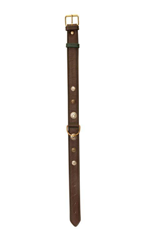 Camon - Collare in Pelle con Borchie Marrone 35X650