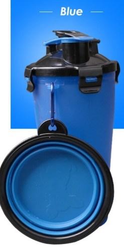Borraccia 2 in 1 per acqua e cibo cani e gatti con Ciotola. Colore blu