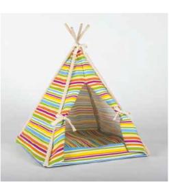 Vitakraft - Tenda indiana multirighe pastello. 45x45x56 cm