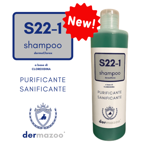 Dermazoo - Shampoo S22-1 con clorexidina, purificante, sanificante. 300ml