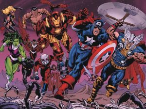 Avengers – Ms Marvel, Namor, iron man, captain america, thor, yellow jacket, wasp, scarlet witch, antman, black panther, condor, she-hulk