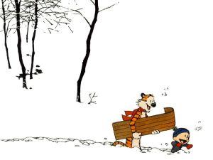 Calvin & Hobbes – Snow boarding