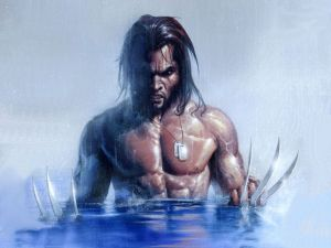 wolverine rising from the water
