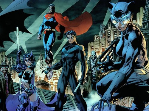 Gordon, Huntress, Superman, Nightwing, Catwoman, Hush