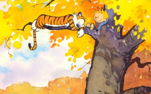 calvin and hobbes in a tree
