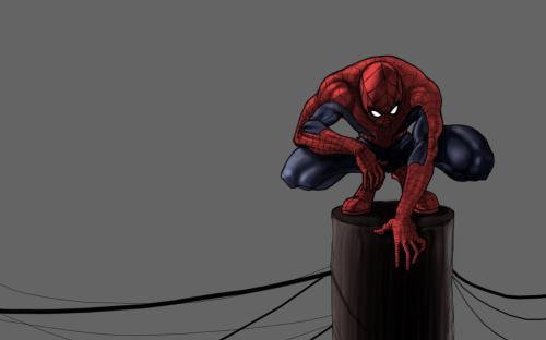 spider-man on power pole