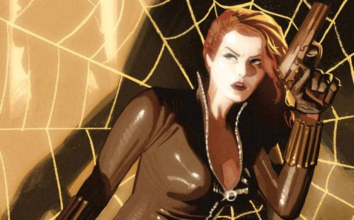 black widow in a web