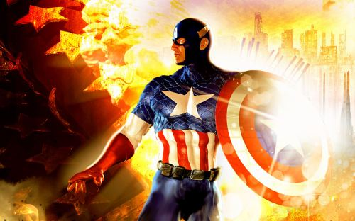 captain america in flames