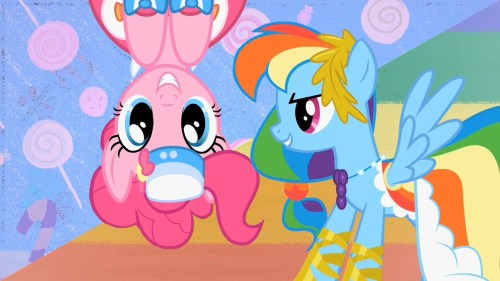 pinkie pie on the roof with rainbow dash