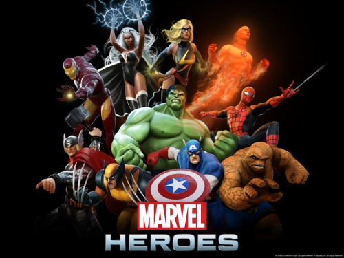 marvel heroes – iron man, storm, ms marvel, human torch, spider-man, thing, captain america, incredible hulk, wolverine, thor
